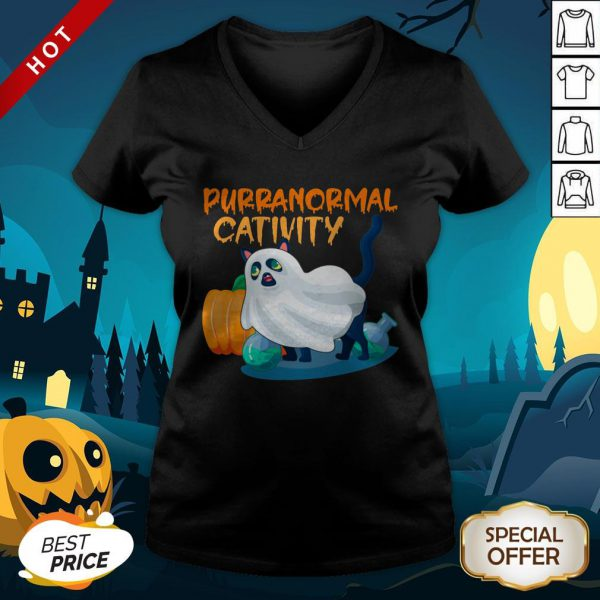 Cute Ghost Cat Purranormal Activity Funny Halloween V-neck
