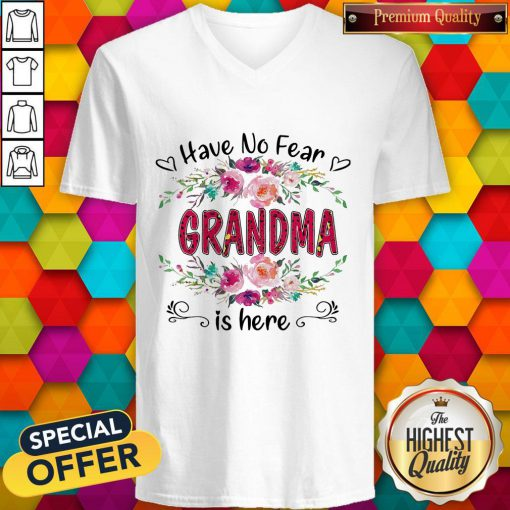 Cute Have No Fear Grandma Is Here Flower V-neck