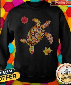 Cute Spring Turle Fall Flowers Shape Sweatshirt