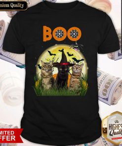 Funny Cats Boo Halloween Black Cat With Shirt