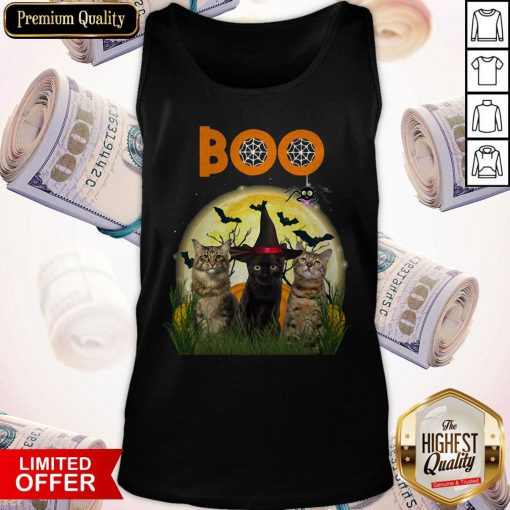 Funny Cats Boo Halloween Black Cat With Tank Top