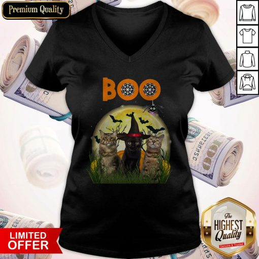 Funny Cats Boo Halloween Black Cat With V-neck