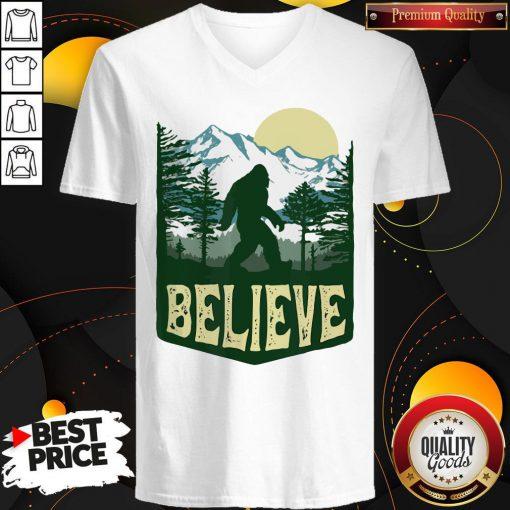 Funny Hiking Bigfoot Forest Believe V-neck