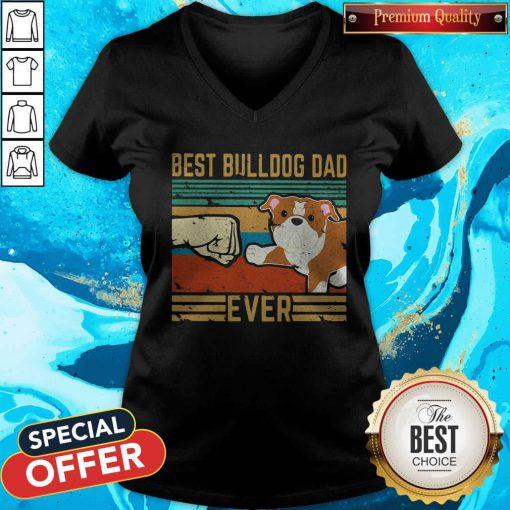 Hot Best Bulldog Dad Ever Vintage Retro V-neck