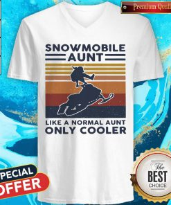 Hot Snowmobile Aunt Like A Normal Aunt Only Cooler Vintage Retro V-neck