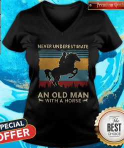 Love Never Underestimate An Old Man With A Horse Vintage Retro V-neck