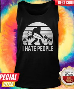 Lovely Bigfoot Surfing I Hate People Tank Top
