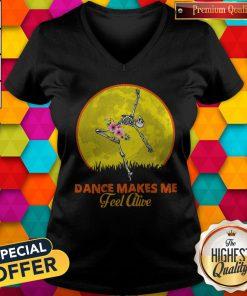 Maybe Skeleton Dance Make Me Feel Alive Floral Sunset V-neck