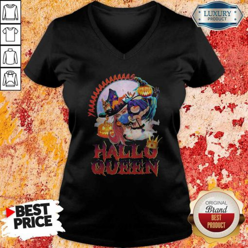 Maybe Witch Mask Yaaa Hallo Queen Halloween V-neck
