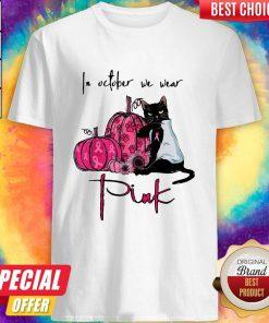 Nice Black Cat In October We Wear Pink Shirt