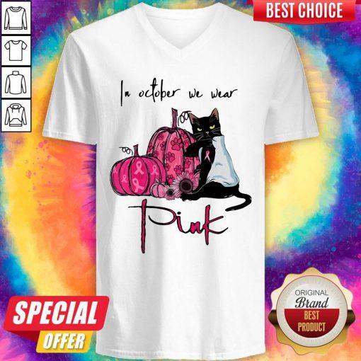 Nice Black Cat In October We Wear Pink V-neck