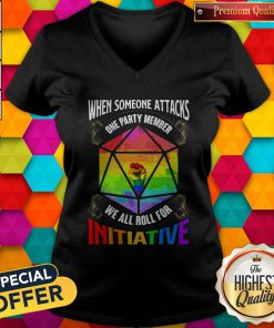 Nice Lgbt When Someone Attacks One Party Member We All Roll For Initiative V-neck