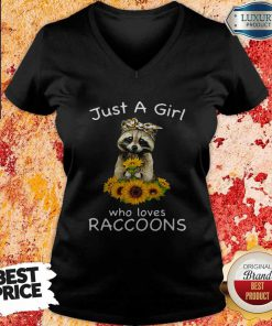 Nice Sunflower Just A Girl Who Loves Raccoons V-neck