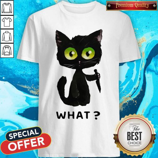Perfect Black Cat What Murderous Cat With Knife Shirt