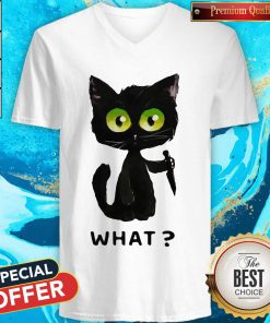Perfect Black Cat What Murderous Cat With Knife V-neck