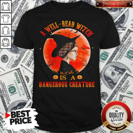 Supper A Well Read Witch Is A Dangerous Creature Sunset Halloween Shirt