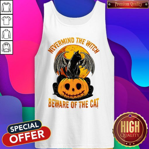 Sweet Nevermind The Witch Beware Of The Cat Halloween Tank Top