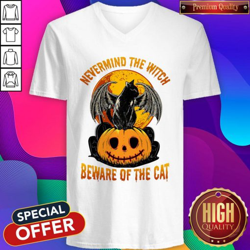 Sweet Nevermind The Witch Beware Of The Cat Halloween V-neck