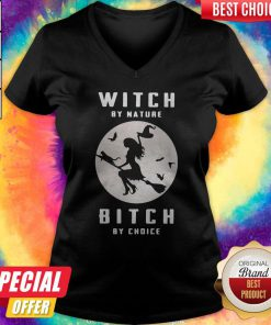 Sweet Witch By Nature Bitch By Choice Moon Halloween V-neck