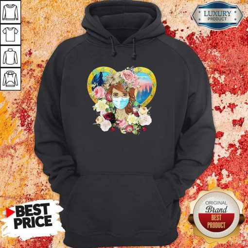 Top Hippie Nature Fitted Forest Flowers Mask Hoodie