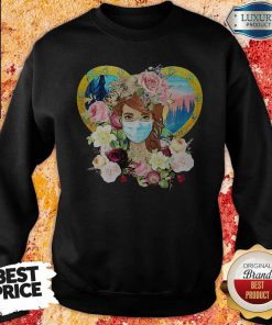 Top Hippie Nature Fitted Forest Flowers Mask Sweatshirt