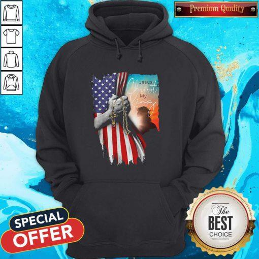 Top Jesus Christ My King American Flag Independence Day Hoodie