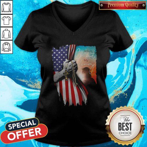 Top Jesus Christ My King American Flag Independence Day V-neck