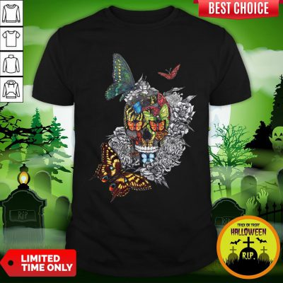 Artistic Rage Butterflies And Skull Tattoo Day Of The Dead Shirt