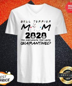 Bull Terrier Mom 2020 The One Where They Were Quarantined V-neck