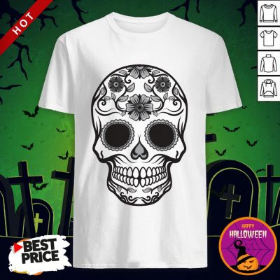Candy Skull In Black & White Day Of The Dead Shirt