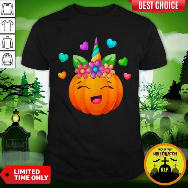 Cute Unicorn Pumpkin For Halloween Girls T-Shirt