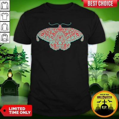 Death Head Moth Teal And Scarlet Day Of The Dead Shirt