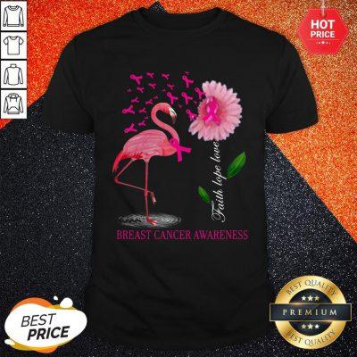 Faith Hope Love Pink Flamingo Ribbon Breast Cancer Awareness 2020 Shirt