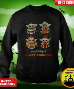 Funny Baby Yoda Happy Hallothanksmas Sweatshirt