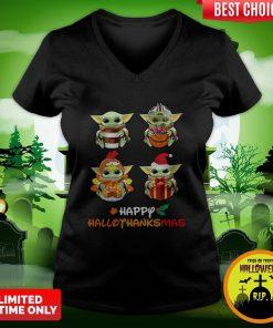 Funny Baby Yoda Happy Hallothanksmas V-neck