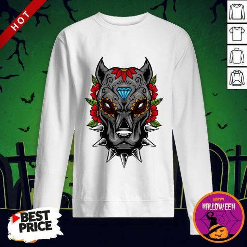 Halloween Day Of The Dead Sugarskull Scary Pitbull Sweatshirt