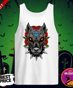 Halloween Day Of The Dead Sugarskull Scary Pitbull Tank Top