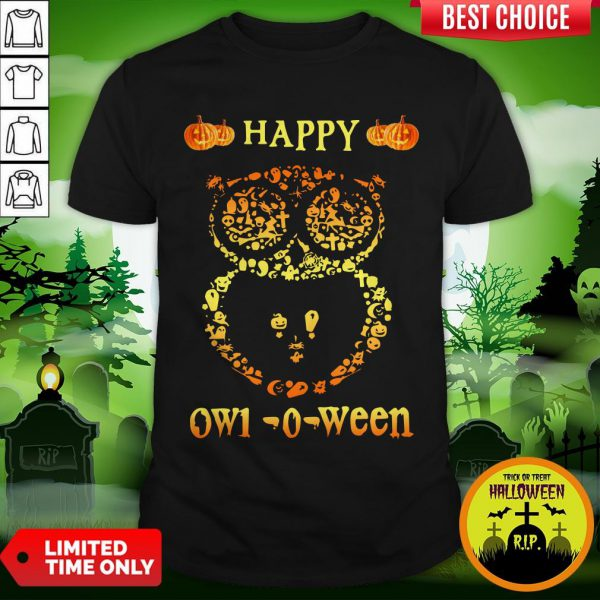Happy Owl-o-ween Funny Owl Halloween Owl-o-ween T-Shirt
