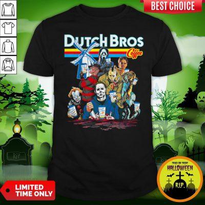 Horror Movie Characters Dutch Bros Coffee Halloween Shirt