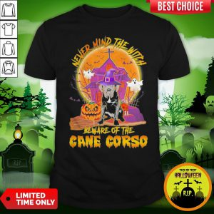 Nice Never Mind The Witch Beware Of The Cane Corso Halloween Moon Shirt