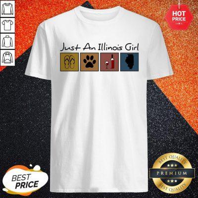 Pro Just An Ilinois Girl Flip Flop Cat Paw Wine Shirt