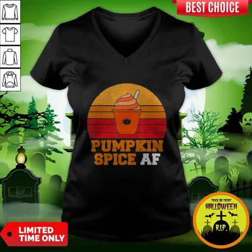 Pumpkin Spice Af Funny Men Husband Halloween Gift Vintage V-neck