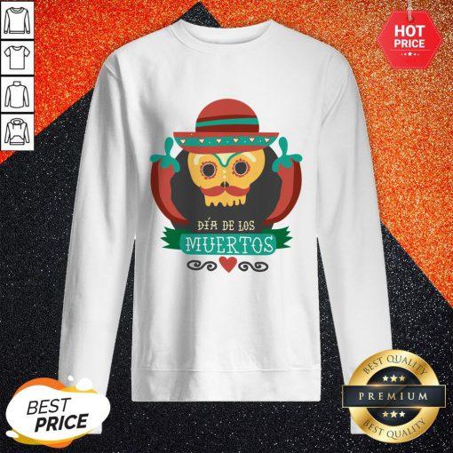 Sugar Skull Black Dia De Muertos Mexico Holiday Sweatshirt
