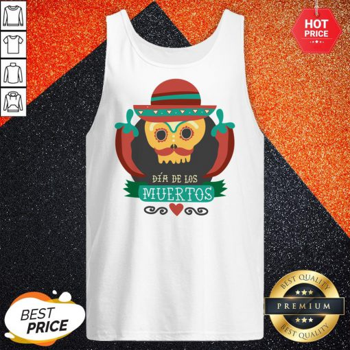 Sugar Skull Black Dia De Muertos Mexico Holiday Tank Top