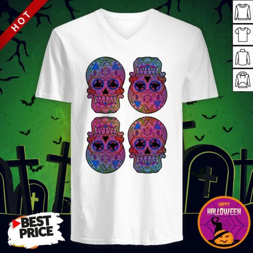 Sugar Skulls Day Of The Dead Mexican Holiday V-neck