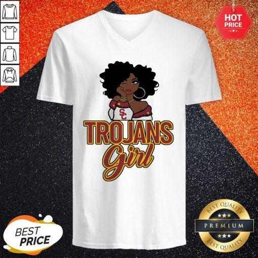 Sweet Black Girl Trojans Girl V-neck