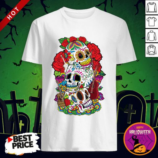 Three Sugar Skulls Day Of The Dead Dia De Los Muertos T-shirt