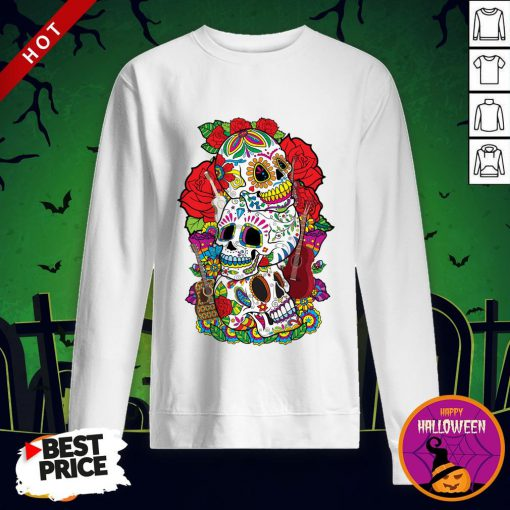 Three Sugar Skulls Day Of The Dead Dia De Los Muertos Sweatshirt