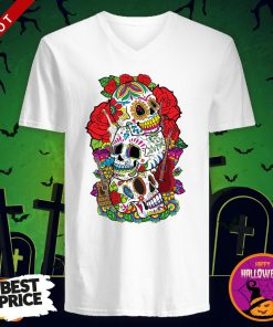 Three Sugar Skulls Day Of The Dead Dia De Los Muertos V-neck