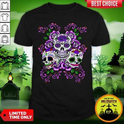 Triple Skull Purple Floral Day Of The Dead Sugar Skulls Shirt
